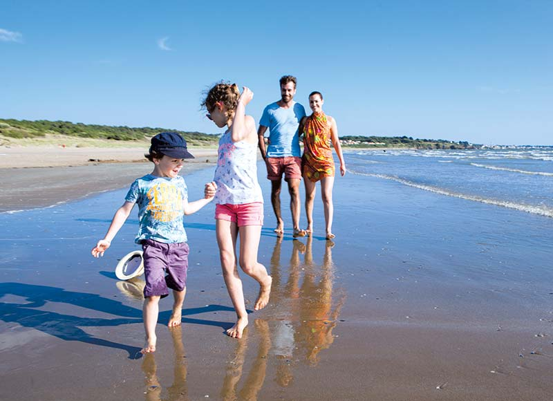 Camper family on a beach in Saint-Brevin in southern Brittany